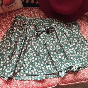 Forever 21 Floral mini skirt with tie belt